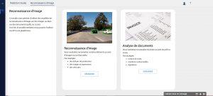 Image de l'interface du studio de Reconnaissances d'images